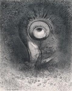 《『起源』II. おそらく花の中に最初の視覚が試みられた》1883年 リトグラフ/紙(シーヌ・アプリケ)岐阜県美術館蔵