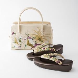草履とバッグ『秋の茶会へ』