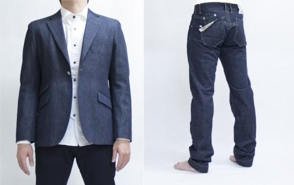 左)デニム テーラードジャケット ¥48,600 右)セルヴィッチ テーパード       ¥20,520