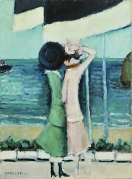 カシニョール 「海辺の二人」73×54cm