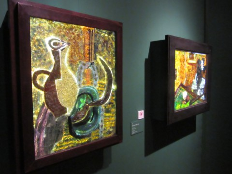 Stained glass works created in collaboration with mosaic craftsmen with black interaction