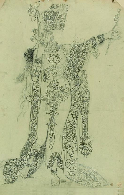 《踊るサロメ、通称入れ墨のサロメのための習作》  インク・鉛筆/紙54.5×37.4cmギュスターヴ・モロー美術館蔵Photo©RMN-Grand Palais / René-Gabriel Ojéda / distributed by AMF