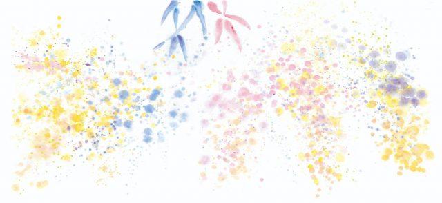 ウォールアートデザインイメージ=夏祭りの金魚すくい、花火に踊る水面